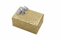 Подарочная коробка золота Стоковые Изображения