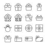 Подарочная коробка и присутствующие значки иллюстрация вектора