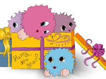 Подарочная коробка 4 милая красочная извергов Стоковые Изображения
