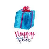Подарочная коробка Нового Года акварели с современной каллиграфией Поздравительная открытка торжества бесплатная иллюстрация