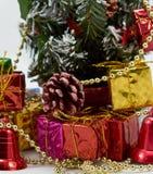 Подарочная коробка около рождественской елки стоковая фотография rf