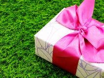 Подарочная коробка присутствующая с лентой Стоковые Фотографии RF