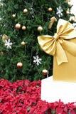 Подарочная коробка присутствующая с золотыми лентой, рождественской елкой и poinsett Стоковая Фотография RF