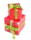 Подарочная коробка рождества с звездами Стоковое Изображение RF