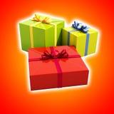 3 подарочной коробки закрывают вверх Стоковые Изображения