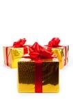3 подарочной коробки золота Стоковые Изображения RF