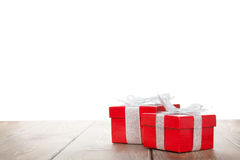 2 подарочной коробки на деревянном столе Стоковая Фотография