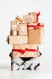 Подарочные коробки в руках молодой женщины Стоковая Фотография RF