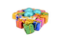 Подарочные коробки запачкали предпосылку Стоковые Изображения RF