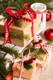 Подарочные коробки рождества Стоковые Изображения RF