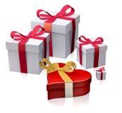 Подарочные коробки с коробкой сердца иллюстрация вектора