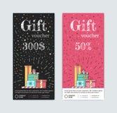 Подарочный купон с подарками иллюстрация вектора