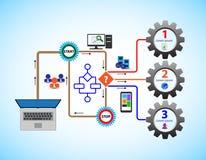 Подача дела концепции, это также представляет бизнес-процесс, поток операций, стратегию иллюстрация штока