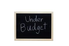 Под бюджетом написанным с белым мелом на классн классном Стоковые Изображения RF