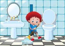 Пол ванной комнаты чистки мальчика иллюстрация вектора