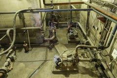 Подвал насосной установки воды Покинутое пост-апоралипсическое Стоковая Фотография RF