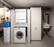Подвал с стиральной машиной Стоковое Изображение