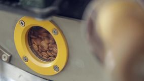 Подвергните механической обработке для кофе жарить в духовке HD акции видеоматериалы