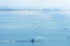 Подводная лодка в гавани Сан-Диего Стоковая Фотография