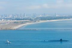 Подводная лодка в гавани Сан-Диего Стоковые Фотографии RF