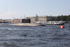 Подводная лодка в дне военно-морского флота России в Санкт-Петербурге Стоковое Изображение
