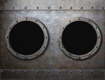 Подводная лодка или старые иллюминаторы корабля 2 metal рамки стоковое изображение rf