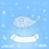 Подводная лодка на океанском дне с космосом для текста - карточки концепции Сладостная карточка поздравлению внутри Стоковые Изображения RF