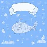 Подводная лодка на океанском дне с космосом для текста - карточки концепции Сладостная карточка поздравлению внутри Стоковая Фотография
