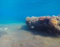 Подводный ландшафт с огромным утесом и песок основывают Естественный пейзаж в тропическом море Стоковые Изображения