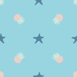 Подводный дизайн безшовной картины для оборачивать, ткани, печати Seastar и иллюстрация вектора медуз красочная Стоковое фото RF