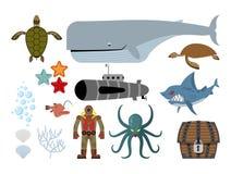 подводный комплект мира Кейт и подводная лодка, акула и ужасный Oc Стоковые Фотографии RF