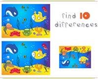 Подводный мир, океанское дно с осьминогом, подводной лодкой, китом, fi Стоковое Фото