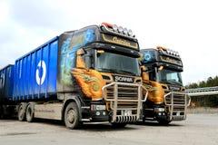 2 подгонянное евро Scania 6 тележек Стоковая Фотография