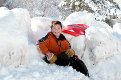 Подготавливайте для того чтобы пойти sledding Стоковые Фотографии RF