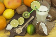 Подготавливать освежающий напиток кокоса ввпейте тропическое Таблица на баре пляжа Тропический плодоовощ для делать alco Стоковые Изображения RF