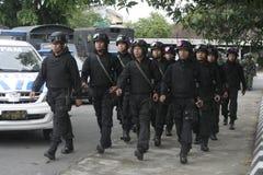 Подготовка индонезийских национальных войск в городе сольной, центральной безопасности Ява Стоковое фото RF