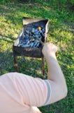 Подготовка для жарить мясо Стоковая Фотография