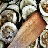 Подготовьте овощ баклажана Художнический взгляд в винтажных ярких цветах Стоковое фото RF