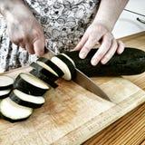 Подготовьте овощ баклажана Художнический взгляд в винтажных ярких цветах Стоковое Фото