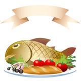 Подготовленные рыбы с хлебцем иллюстрация вектора