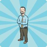 подготовляет бородатым усмехаться бизнесмена пересеченный шаржем Стоковое Изображение RF