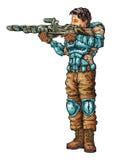 Полевой солдат Иллюстрация штока