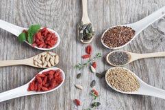 Полезная, здоровая еда Установите семена для здорового питания Стоковые Изображения RF