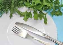 Полезные травы на таблице Стоковое Фото