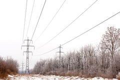 Поддерживает высоковольтную зиму линий электропередач Стоковые Изображения