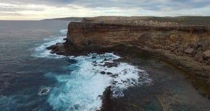 Полет вдоль скалы Zuydorp - острова Dirk Hartog, зоны всемирного наследия залива акулы видеоматериал