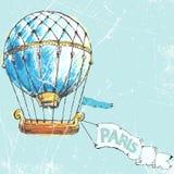 Полет к Парижу в воздушном шаре также вектор иллюстрации притяжки corel Стоковое Изображение RF