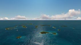 Полет над океаном с тропическими островами и подводное акции видеоматериалы