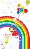 Полет на цвет воздушных шаров Стоковые Изображения