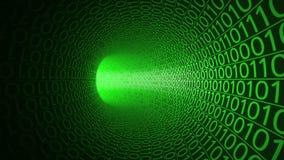 Полет через абстрактный зеленый тоннель сделанный с нулями и одними предпосылка высокотехнологичная ИТ, переход двоичных данных,  Стоковая Фотография